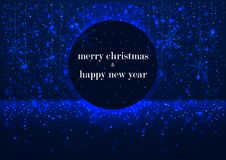 Template of greeting card, Merry Christmas and happy New Year, with round frame, glowing  snowflakes blue winter background Stock Photos