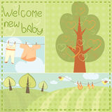 Template greeting card for newborn baby.  Stock Images
