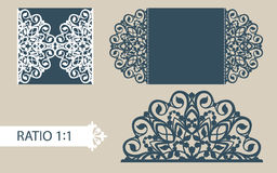 Template greeting card with openwork pattern Stock Photo