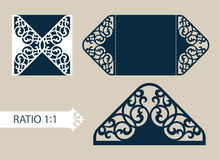 Template greeting card with openwork pattern. The layout of the cards in three additions. The template is suitable for greeting, congratulations, invitations Royalty Free Stock Photo