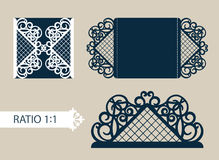 Template greeting card with openwork pattern. Layout congratulatory cards in three additions. The template for greetings, invitations, menus, etc. The picture Royalty Free Stock Photos