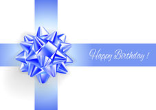 Template greeting card with realistic blue bow. Royalty Free Stock Photo