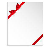 Template greeting card with a red bow Royalty Free Stock Photography