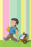 Template greeting card with schoolboy. Stock Images