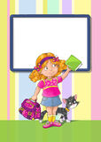 Template greeting card with schoolgirl. Template greeting card with smiley schoolgirl standing with a bag and book. And with a cat. And place for text Royalty Free Stock Images