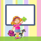 Template greeting card with schoolgirl. Template greeting card with smiley schoolgirl standing with a bag and book. And with a cat. And place for text Stock Photography