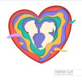 Template of greeting card with shape of kissing couple. Realistic multi layers, carving of paper. Print template for. Cards with paper-cut shapes of heart Stock Image