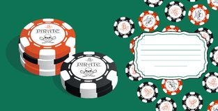Template for greeting cards, business cards or flyers with space for text. Illustration with stylized poker chips. Stock Photography