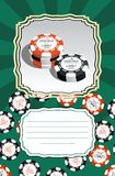 Template for greeting cards, business cards or flyers with space for text. Illustration with stylized poker chips. Royalty Free Stock Image
