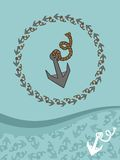 Template for greeting cards, flyers or business cards with anchors. Royalty Free Stock Image