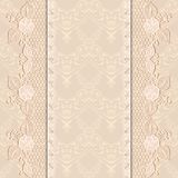 Template greeting or invitation card with delicate lace fabric. Light background. Royalty Free Stock Image