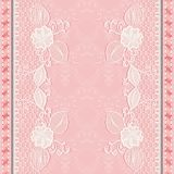 Template greeting or invitation card with lace fabric. Pink background. Stock Photo