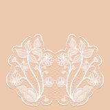 Template greeting or invitation card with with lace flowers. Pink background. Stock Photos