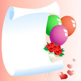 Template for greetings. The illustration shows a template for greeting card with balloons, a bouquet of flowers and a heart symbol. Illustration done on separate Stock Photography