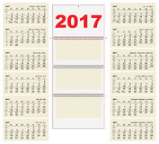 Template grid Wall Calendar 2017. First Day Monday. Illustration in vector format Royalty Free Stock Photos