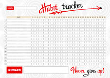 Template habits tracker. For a month. Vector Illustration Royalty Free Stock Images