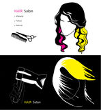 Template for hair salon. Vector illustration of template for hair salon on black and white background. Modern style Stock Photo