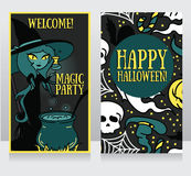 Template for Halloween cards with cute doodle witch Stock Image