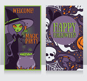 Template for Halloween cards with cute doodle witch Royalty Free Stock Images