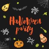 Template Halloween with ghost, pumpkin, bat, spider, spiderweb, vector illustration