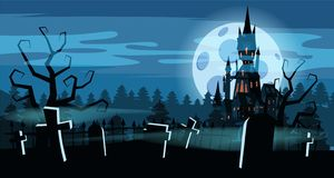 Template Halloween holiday graveyard, black abandoned castle, gloomy autumn forest, panorama, moon, crosses and. Tombstones royalty free illustration