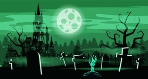 Template Halloween holiday graveyard, black abandoned castle, gloomy autumn forest, panorama, moon, crosses and. Tombstones vector illustration