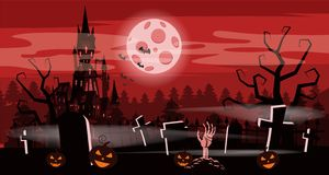 Template Halloween holiday pumpkin, cemetery, black abandoned castle, gloomy autumn forest, panorama, moon, crosses and. Tombstones vector illustration