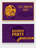 Template for halloween party invitations with cartton traditional halloween stuff Royalty Free Stock Images