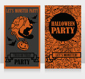 Template for halloween party invitations with cartton traditional halloween stuff Stock Image