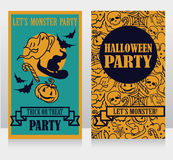 Template for halloween party invitations with cartton traditional halloween stuff Stock Images