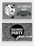 Template for halloween party invitations with cartton traditional halloween stuff Stock Photos