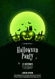 Template for Halloween party. A terrible concept of crosses, graves and glowing pumpkins. Green dust. The black owl. Full moon. Ve. Rtical background. Club Royalty Free Stock Photo