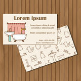 Template for hand drawn bathroom booklet or card Stock Image
