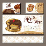 Template with hand drawn sketch bakery. Can be used as corporate identity style for cafe or restaurant.  Vector illustration. Dess Royalty Free Stock Image