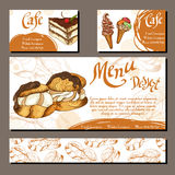 Template with hand drawn sketch bakery. Can be used as corporate identity style for cafe or restaurant.  Vector illustration.  Royalty Free Stock Images