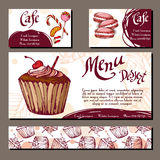 Template with hand drawn sketch bakery. Dessert cards with sweet bakery. Royalty Free Stock Images