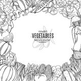 Template with hand drawn vegetables Royalty Free Stock Photos