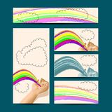 Template with hand and rainbow Royalty Free Stock Photos