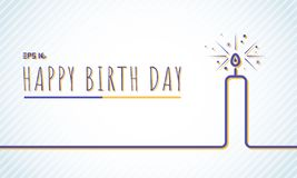 Template happy Birthday greeting card with candle blue line on p vector illustration