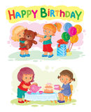 Template for Happy Birthday greeting card. Royalty Free Stock Photography