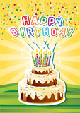 Template Happy birthsday card  with cake and candl Royalty Free Stock Photos