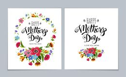 Template Happy Mother`s Day cards on light blue background. Lettering Happy Mothers Day in flower frame. Template Happy Mother`s Day greeting cards on light blue Royalty Free Stock Photo