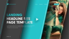 Template header site with diagonal black and blue lines and a pl. Ace for a photo. Modern banner design with title, text and buttons. Vector illustration Stock Photos