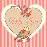 Template with heart, bird and red berries.Valentine card. Vector Royalty Free Stock Image