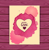 Template heart frame in beige lilac  watercolors stain on lilac wood background Stock Photography