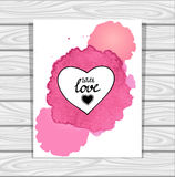 Template heart frame in pink lilac white  watercolors stain on grey wood background Stock Photo