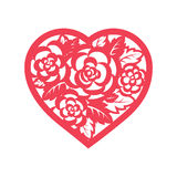 Template heart with roses for laser cutting. Template card heart with flowers for laser cutting. Roses and wedding leaves, save the date, Valentine s Day Stock Image