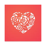 Template heart with roses for laser cutting. Template card heart with flowers for laser cutting. Roses and wedding leaves, save the date, Valentine`s Day Stock Photo