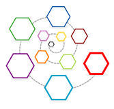 Template with hexagonal chart Stock Photography