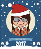 Template of hipster holiday postcard. New Year 2017 card. Template of holiday postcard. New Year 2017 card. Happy hipster girl in Santa Clause hat. Vector Stock Images